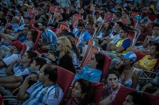 Argentinian fans watching the final at Copacabana beach, Rio de Janeiro