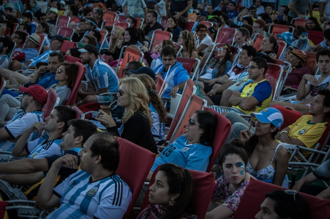 Argentinian fans watching the final at Copacabana beach, Rio de Janeiro