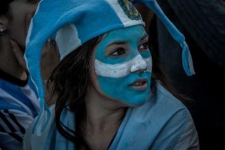 Argentinian fan watching the final at Copacabana beach, Rio de Janeiro